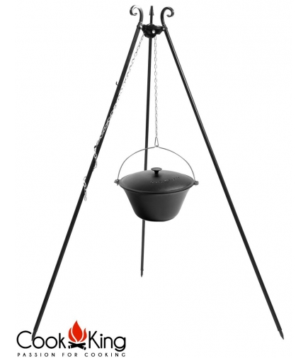Kociołek węgierski żeliwny z pokrywką 11l na trójnogu 180cm