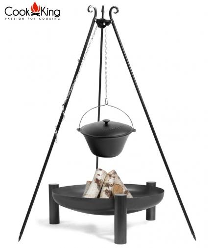 Kociołek żeliwny na trójnogu 16l + palenisko Palma 70cm