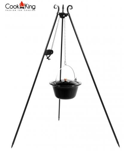 Kociołek węgierski emaliowany 14l na trójnogu 180cm z kołowrotkiem