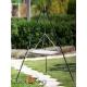 Grill ogrodowy stal nierdzewna 50cm na trójnogu 180cm