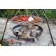 Grill nierdzewny 50cm na trójnogu 180cm + palenisko Bali 60cm