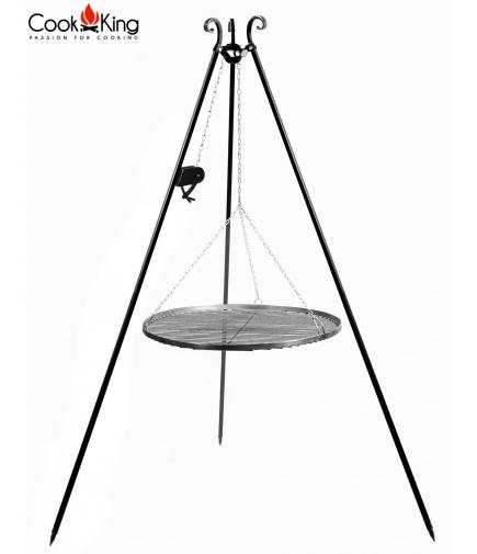 Grill ogrodowy 60cm stal czarna na trójnogu 180cm z kołowrotkiem