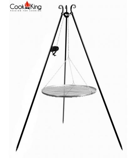 Grill ogrodowy 50cm stal nierdzewna na trójnogu 180cm z kołowrotkiem