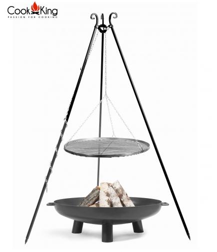Grill stal czarna 80cm na trójnogu 180cm + palenisko Bali 100cm