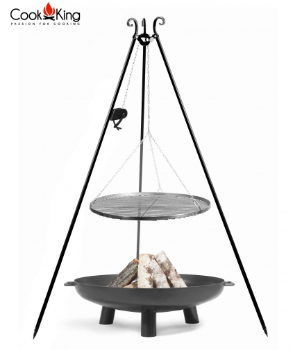 Grill stal czarna 60cm na trójnogu 180cm z kołowrotkiem + palenisko Bali 70cm