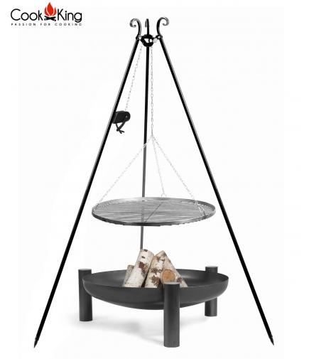 Grill 70cm stal czarnana trójnogu 180cm z kołowrotkiem + palenisko Palma 80cm