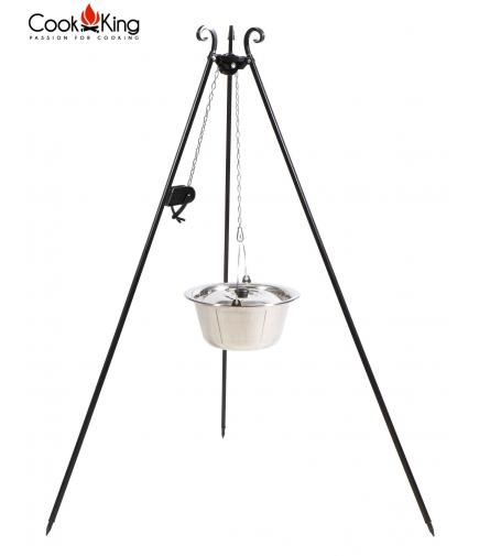 Kociołek węgierski nierdzewny 10l na trójnogu 180cm z kołowrotkiem