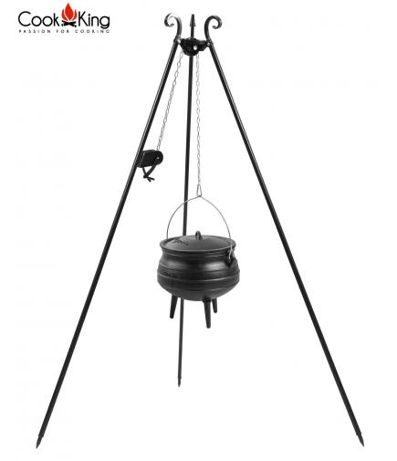Kociołek afrykański żeliwny 13 l na trójnogu z kołowrotkiem 180 cm
